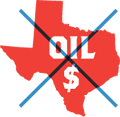 Logo for the new campaign in Palo Alto, No on Texas Oil