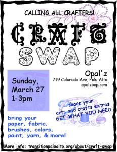 Craft swap March 27 1-3pm